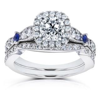 Annello by Kobelli 14k White Gold Blue Sapphire and 1 5/8ct TDW Diamond Halo Antique Two Piece Bridal Set