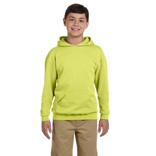 Nublend Boy's Cotton/Polyester Safety Green Hooded Pullover Sweatshirt