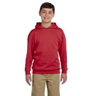 Nublend Boy's True Red Cotton/Polyester Hooded Pullover Sweatshirt