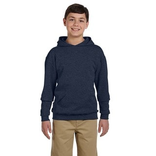 Boys' Navy Cotton/Polyester Nublend Vintage Heather Hooded Pullover Sweatshirt