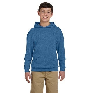 Nublend Boys' Vintage Heather Blue Cotton and Polyester Hooded Pullover Sweatshirt