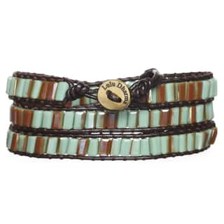 Light Green and Bronze Colored Crystal 3-wrap Bracelet|https://ak1.ostkcdn.com/images/products/12173018/P19024524.jpg?impolicy=medium