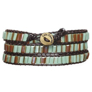Light Green and Bronze Colored Crystal 3-wrap Bracelet