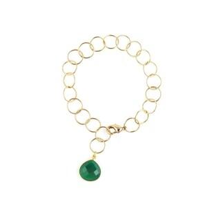 Yellow Gold Overlay Green Onyx Pendant Link Bracelet
