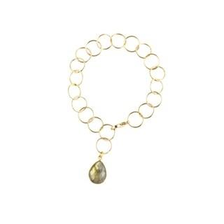 Gold Overlay Labradorite Pendant Link Bracelet