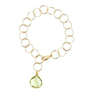 Gold Overlay Green Quartz Pendant Link Bracelet