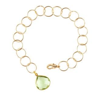 Gold Overlay Peru Chalcedony Pendant Link Bracelet