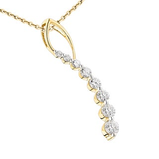 Luxurman 14k Gold 1/2ct TDW Diamond Journey Pendant (G-H, SI1-SI2)