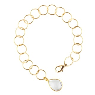 Yellow Gold over Silver White Quartz Pendant Link Bracelet