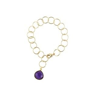Gold over Silver Amethyst Pendant Link Bracelet