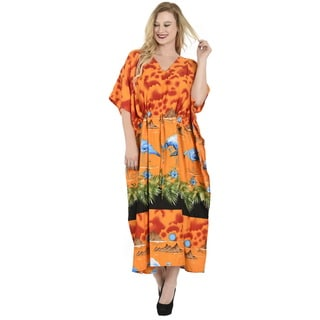 La Leela Women's Beach Mountain Orange Soft Likre Loose Maxi 2-in-1 Nightgown/Dress