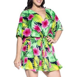 La Leela Women's Plus-size Pink Silk Beach Cover Up