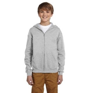 Nublend Boy's Ash Full-zip Hooded Sweatshirt
