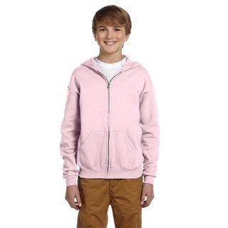 Boy's Classic Pink Cotton/Polyester Nublend Full-zip Hooded Sweatshirt