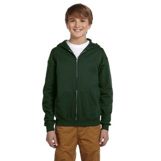 Jerzees Boys' Forest Green Cotton/Polyester NuBlend Full-zip Hooded Sweatshirt