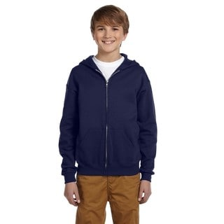 Jerzees Boys' Navy Cotton/Polyester Nublend Full-zip Hooded Sweatshirt