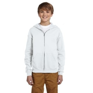 Nublend Boys' White Full-zip Hooded Sweatshirt