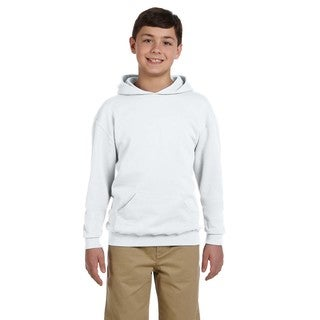 Nublend Boy's Ash Grey Cotton/Polyester Hooded Pullover Sweatshirt