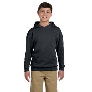 Nublend Boy's Charcoal Grey Hooded Pullover Sweatshirt