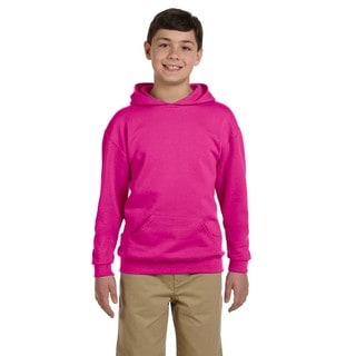 Nublend Boy's Cotton/Polyester Cyber-pink Hooded Pullover Sweatshirt