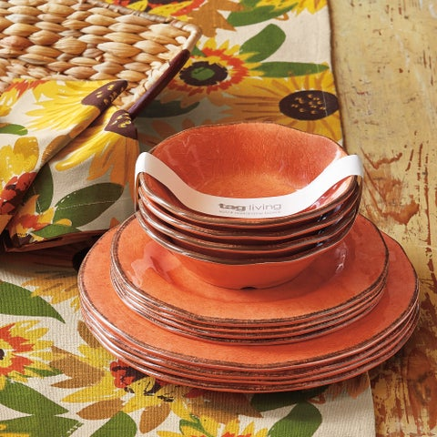 TAG Veranda Melamine Dinner Plates Coral