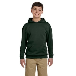 Nublend Boy's Forest Green Hooded Pullover Sweatshirt