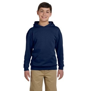Jerzees Boys' Navy Cotton/Polyester NuBlend Hooded Pullover Sweatshirt