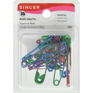 Singer 00294 35 Assorted Colors & Sizes Metallic Safety Pins