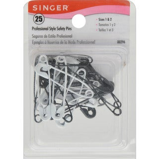 Singer 00296 Size 1 & 2 Professional Style B & W Safety Pins 25 Ct