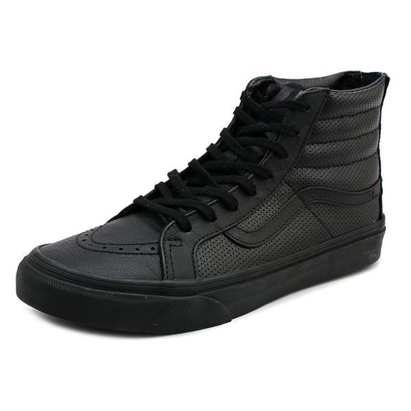 8457caa54aa63d Shop Vans Women s  Sk8-Hi Slim Zip  Black Leather Athletic Shoes ...