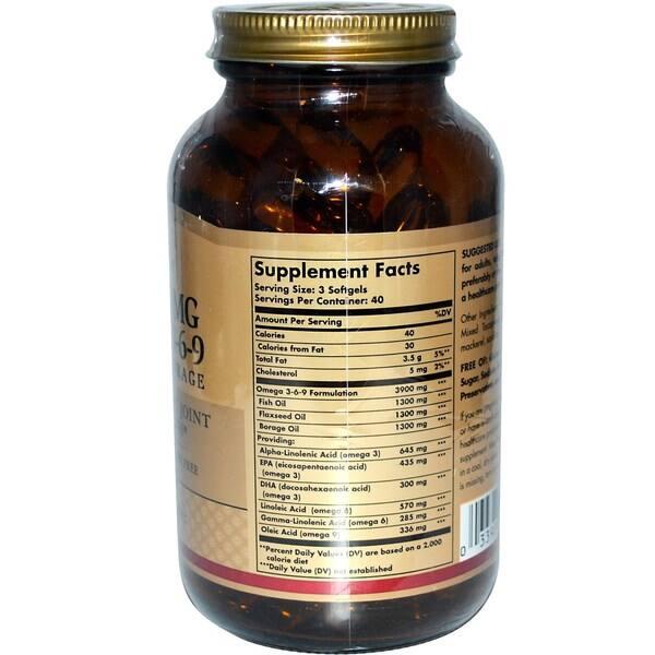 Shop Solgar Omega 3 6 9 Supplement 1300 Milligram 120 Count