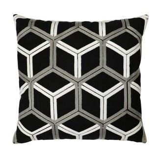 Lush Decor Lattice Black and Grey Cotton 18-inch x 18-inch Decorative Pillow