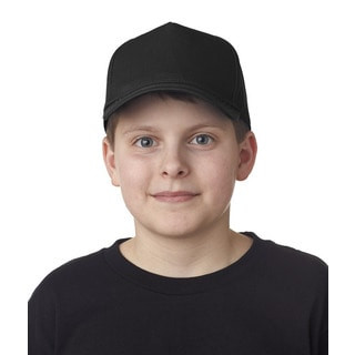 Boys' Black Cotton Twill One-size Classic Cut 5-panel Cap