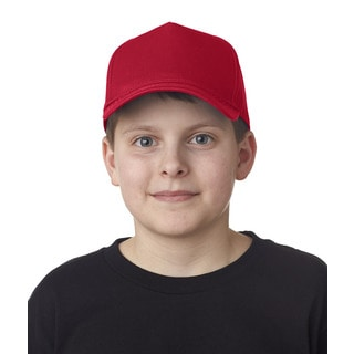 Classic Cut Boy's Red Cotton Twill 5-panel Cap