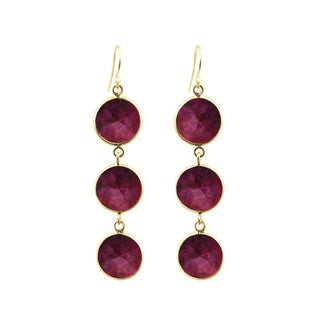 Gold Overlay Ruby Drop Earrings