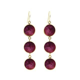 Alchemy Jewelry Handmade 22k Gold Overlay Sterling Silver Ruby Gemstone Drop Earrings Set