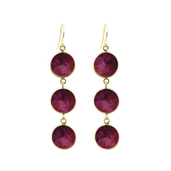 c321b2d016108c Shop Alchemy Jewelry Handmade 22k Gold Overlay Sterling Silver Ruby  Gemstone Drop Earrings Set - Free Shipping Today - Overstock - 12173143