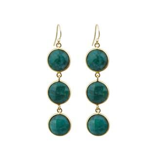 Yellow Gold Overlay Emerald Drop Earrings