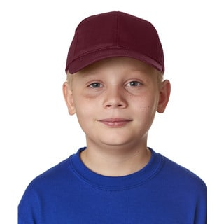 Boys' Maroon Cotton Twill Classic Cut 6-panel Cap (One Size Fits Most)