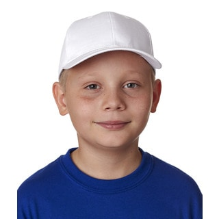 Classic Cut Boys' White Cotton Twill 6-panel Cap (One Size Fits Most)