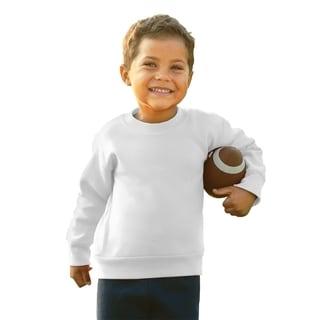Boys' White Cotton/Polyester 7.5-ounce Fleece Sweatshirt