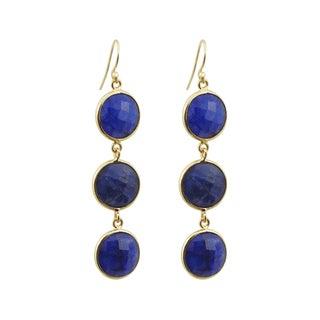 Gold Overlay Sapphire Drop Earrings