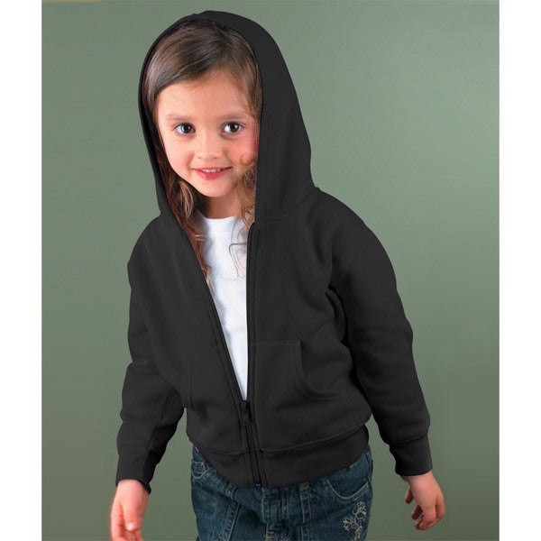 Boys' Black Polyester/Cotton Fleece Full-zip Fleece Hooded Jacket