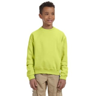 Nublend Boy's Safety Green Cotton and Polyester Crew Neck Sweatshirt