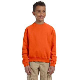 Jerzees Boys' Nublend Safety Orange Cotton and Polyester Crewneck Sweatshirt