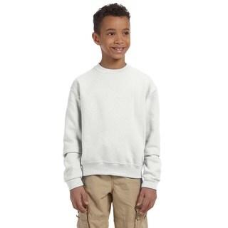 Boys' White Cotton/Polyester Nublend Crew Neck Sweatshirt