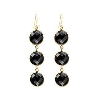 Gold Overlay Black Onyx Drop Earrings