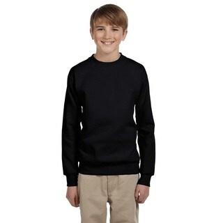 Hanes Boys' Comfortblend Ecosmart Black Polyester Crewneck Sweatshirt