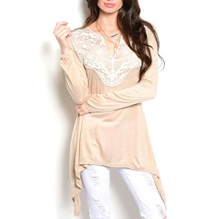 JED Women's Pink Rayon Long-sleeve Tunic Top