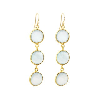 Gold over Silver Peru Chalcedony Drop Earrings